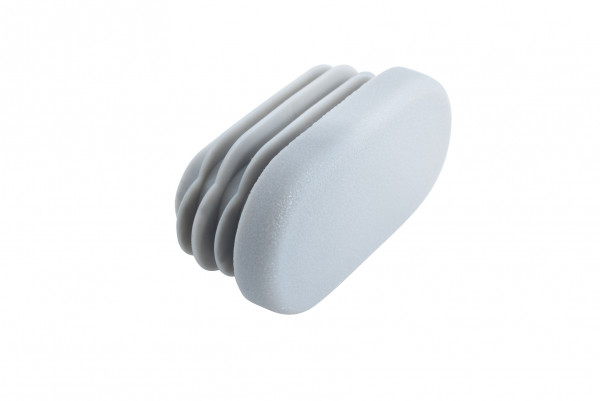 Lamellenstopfen oval 38 x 20 mm silbergrau